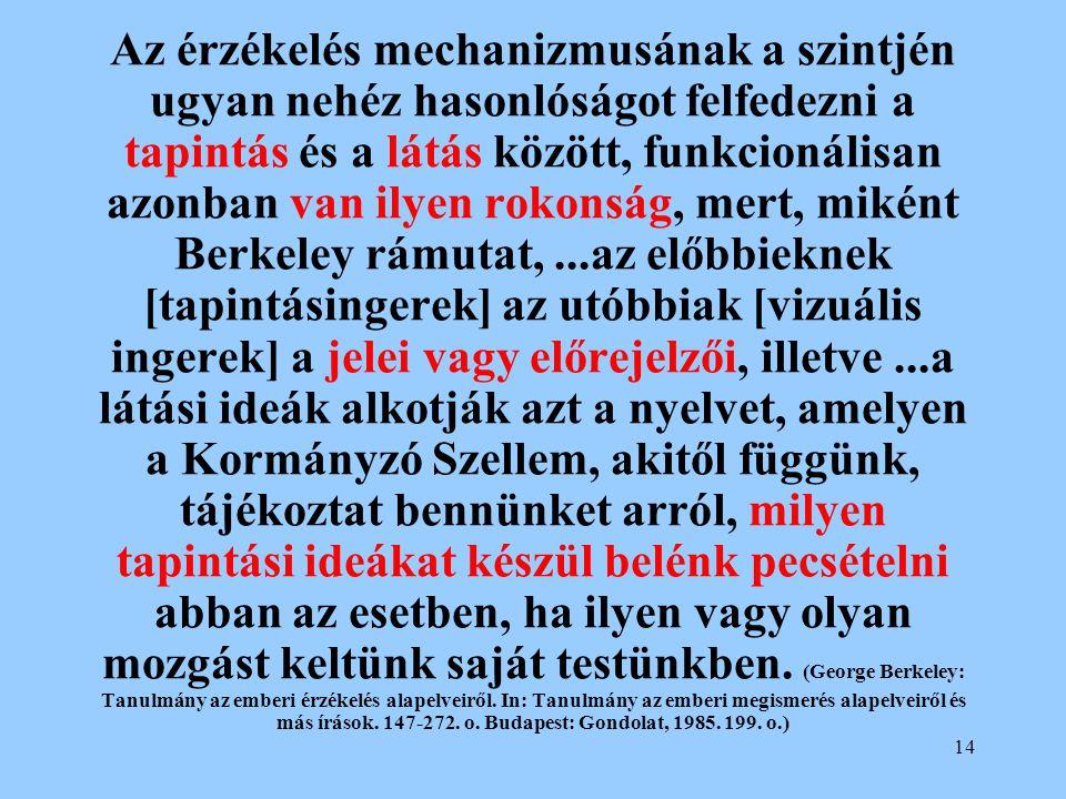 Az érzékelés mechanizmusának a szintjén ugyan nehéz hasonlóságot felfedezni a tapintás és a látás között, funkcionálisan azonban van ilyen rokonság, mert, miként Berkeley rámutat, ...az előbbieknek [tapintásingerek] az utóbbiak [vizuális ingerek] a jelei vagy előrejelzői, illetve ...a látási ideák alkotják azt a nyelvet, amelyen a Kormányzó Szellem, akitől függünk, tájékoztat bennünket arról, milyen tapintási ideákat készül belénk pecsételni abban az esetben, ha ilyen vagy olyan mozgást keltünk saját testünkben.
